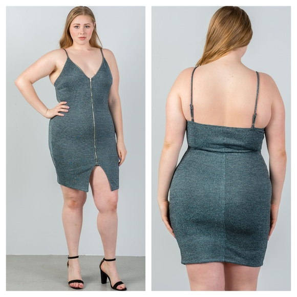 Dresses | Plus Size Zipup Bodycon Mini Dress | Poshmark